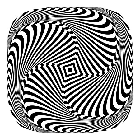 Rotation torsion motion illusion. Abstract design element. Vector art.