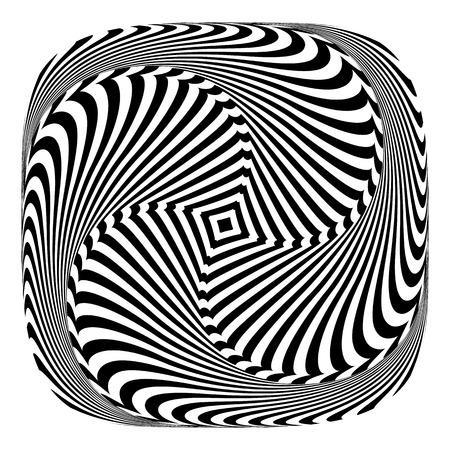 Rotation torsion motion illusion. Abstract design element. Vector art.