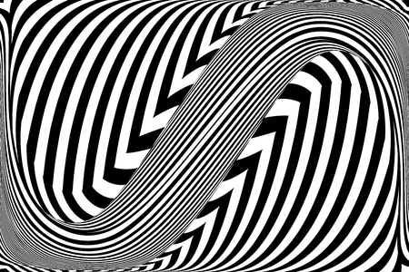 Op art wavy lines pattern abstract background vector graphics.