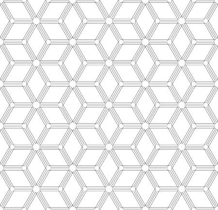 Seamless diamonds and hexagons pattern. 3D optical illusion. Geometric texture Vector art.