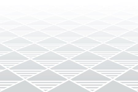 Geometric diamonds and triangles pattern. Perspective view. White textured background. Vector art.