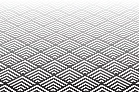 Geometric pattern and background. Diminishing  perspective view. Vector art.