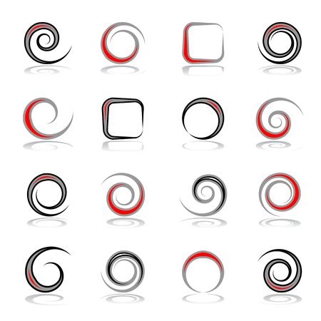 Design elements set. Spiral, circle and square shapes. Abstract icons. Vector art. Illustration