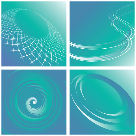 Set of turquoise backgrounds. Abstract designs.