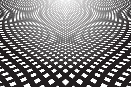 Abstract textured background. Diminishing perspective view. Lines and checks pattern. Vector art. Foto de archivo - 97313238