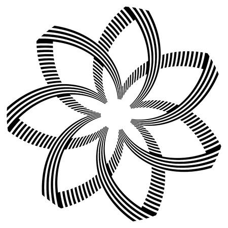 Abstract design element. Rotation lines pattern. Geometric shape. Vector art.
