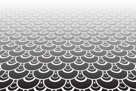 Pattern in fish scale design on Diminishing perspective view. Abstract textured background.
