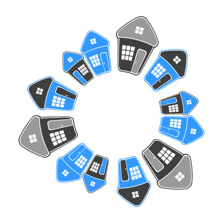 Houses in circle shape. Real estate concept. Vector art.