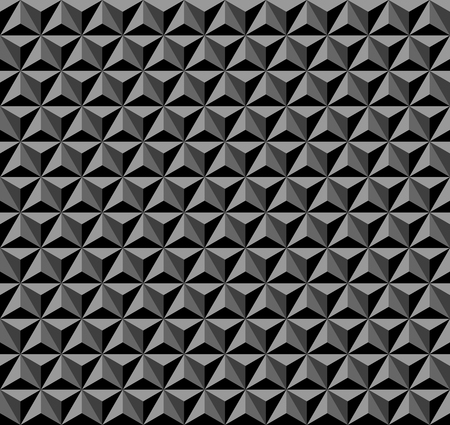 3D hexagons, diamonds and triangles pattern. Black and grey geometric background and texture.