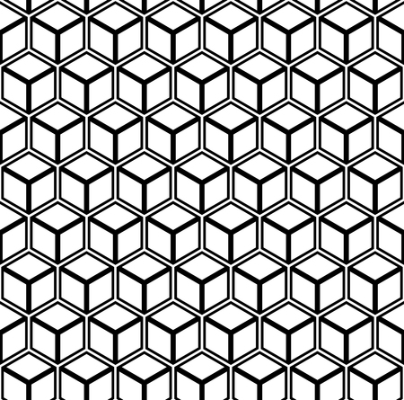 Seamless geometric hexagons pattern. 3D illusion. Vector art. Ilustração
