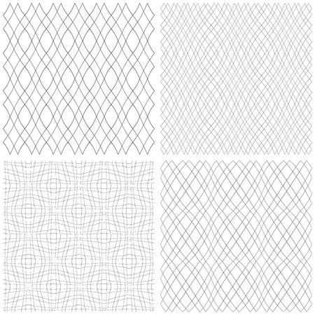 Seamless patterns set. Wavy lines convex textures. Vector art. Illustration