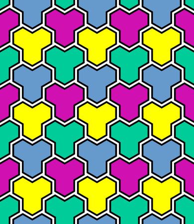 Seamless multicolor mosaic geometric polygonal pattern. Vector art.