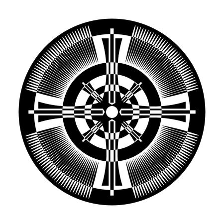 Cross  in circle shape. Abstract design element. Vector art. Illustration