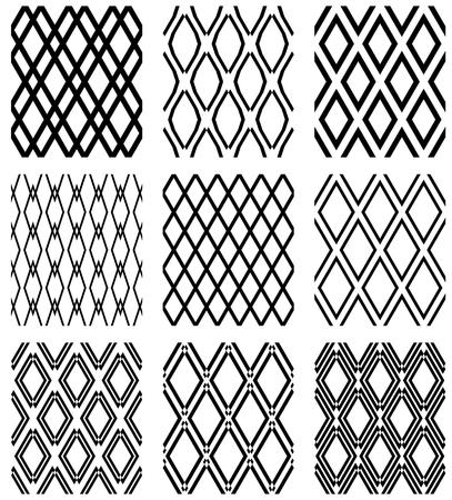 Set of seamless diamonds patterns. Geometric latticed textures. Vector art.