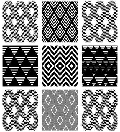 Set of seamless diamonds patterns. Geometric textures. Vector art.