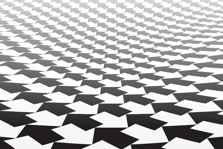 Black and white arrows pattern. Diminishing perspective. Abstract geometric background. Vector art.