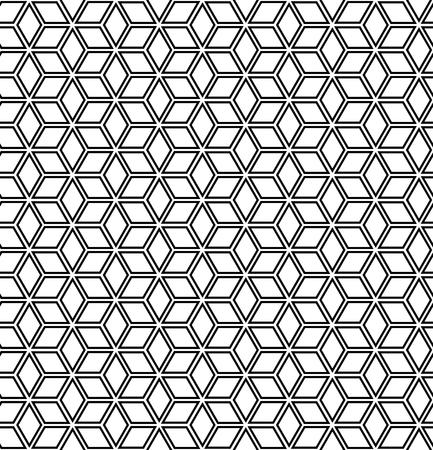 Seamless op art geometric hexagons and diamonds pattern. 3D illusion.