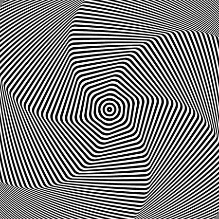 Torsion movement. Abstract op art design. Vector illustration.
