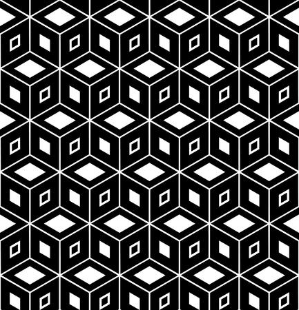 Seamless geometric hexagons and diamonds pattern. 3D illusion. Vector art.