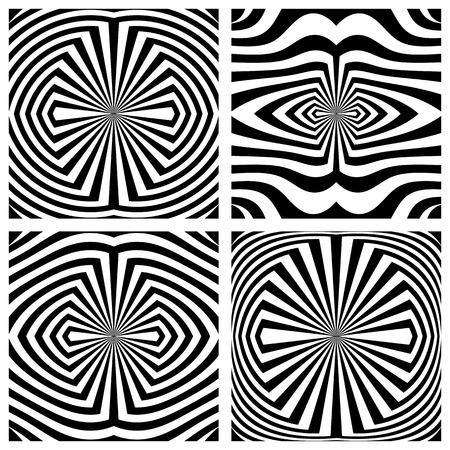 Abstract symmetrical patterns set. Lines texture. Vector art.