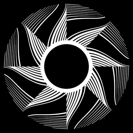 Rotation design element. Circle pattern. Vector art.