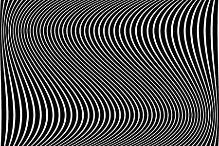 Abstract wavy lines design. Striped black and white background. Vector art.