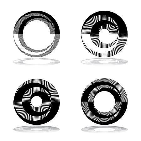 Circle design elements. Abstract icons set. Vector art.