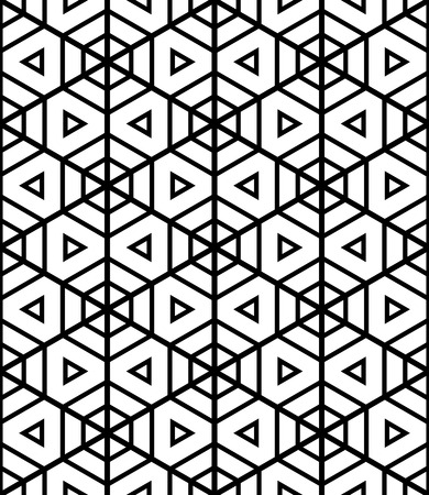 Seamless hexagons and triangles pattern. Geometric texture. Vector art.