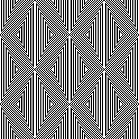 Seamless geometric triangles and diamonds pattern. Striped lines texture. Vector art.