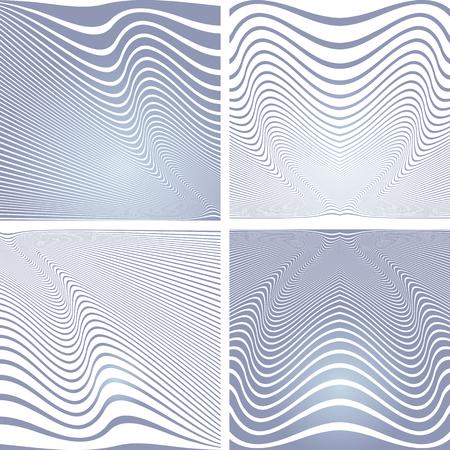 Abstract blue wavy lines designs set. Vector art.