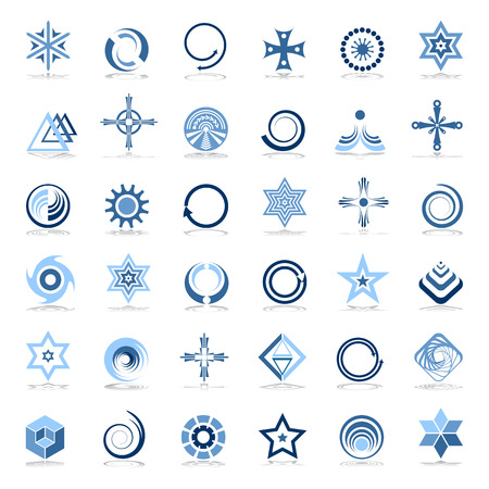 Design elements set. Abstract icons in blue colors. Vector art. Illustration