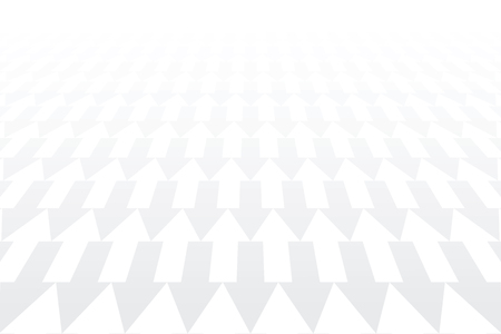 Arrows pattern. Diminishing perspective. White geometric background. Vector art.