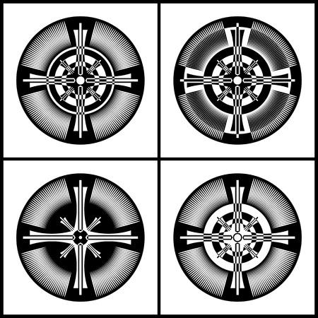Cross patterns in circle shape. Design elements set. Vector art.