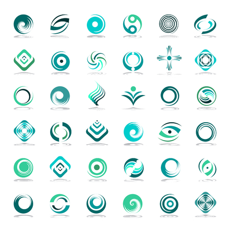Design elements set. Abstract icons in green colors. Vector art. Illustration
