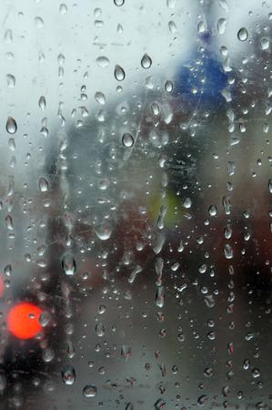 Drops of rain on window glass. Stock Photo