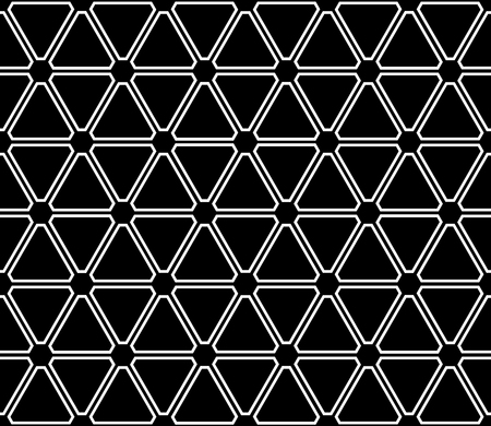 Seamless black triangles and hexagons pattern. Geometric texture. Vector art. Illustration
