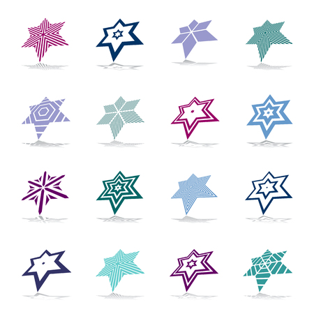 Star icons. Geometric design elements set. Vector art.