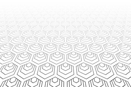 Hexagons pattern. Diminishing perspective. White geometric background. Vector art.