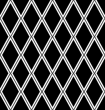 Seamless diamonds pattern. Black and white geometric background and texture. Vector art. Illustration