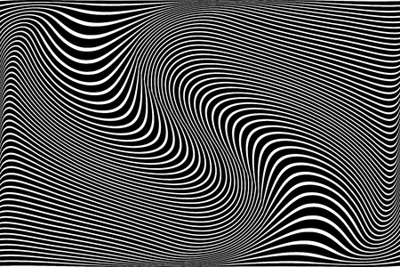 Abstract wavy lines design. Striped black and white background and texture. Vector art. Illustration