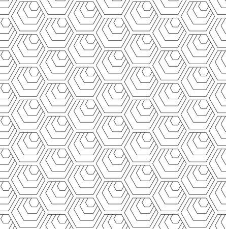 Seamless hexagons pattern. White geometric background and texture. Vector art.