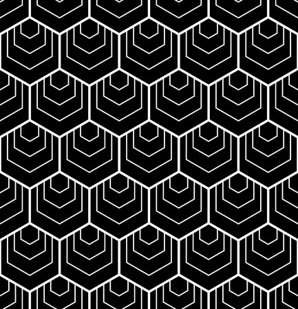 Seamless hexagons pattern. Black and white geometric background and texture. Vector art. Illustration
