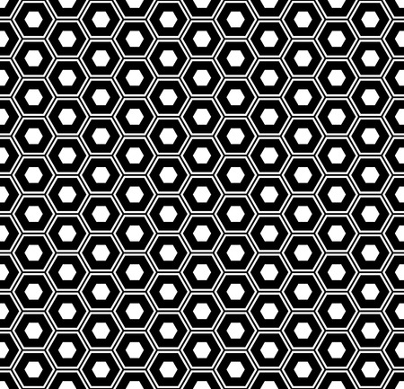 Seamless hexagons pattern. Black and white geometric texture and background. Vector art.
