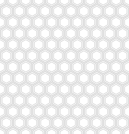 Seamless hexagons pattern. White geometric textured background. Vector art. Illustration