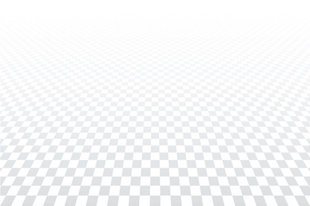 Geometric checkered pattern. White textured background. Diminishing perspective view. Vector art.