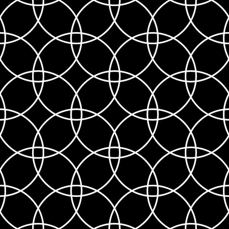 Seamless circles pattern. Black and white geometric texture and background. Vector art.