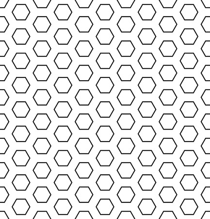 Seamless hexagons pattern. White and black geometric texture and background. Vector art.