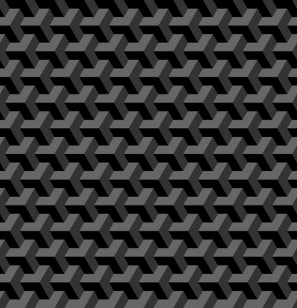 Seamless 3D geometric pattern. Optical illusion. Black and grey geometric background and texture. Vector art.