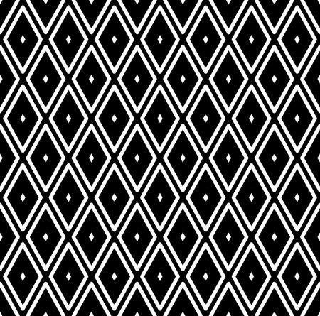 Seamless diamonds pattern. White geometric texture on black background. Vector art. Vetores