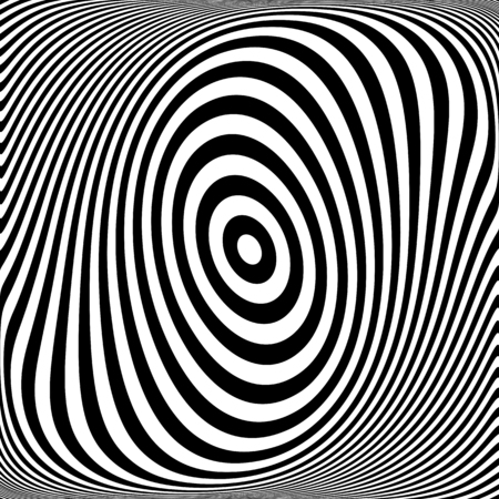 Rotation torsion movement illusion. Oval lines texture. Vector art. Illustration